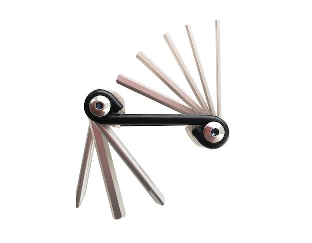 Cacciaviti in acciaio con piatto, presa, chiavi esagonali isolati su sfondo bianco