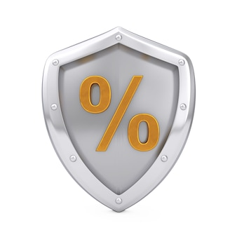 Scudo in acciaio con simbolo di percentuale d'oro su sfondo bianco. rendering 3d
