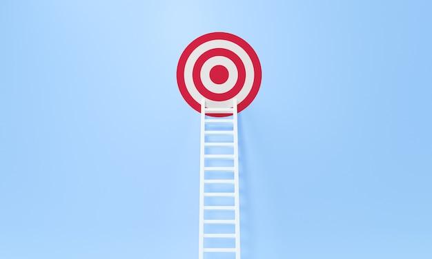Realizzazione della scala a pioli su una parete blu, su e giù per le scale. crescita, futuro, concetto di sviluppo. rendering 3d