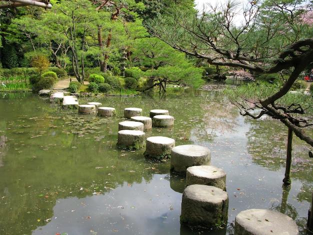 Pietre miliari nel giardino giapponese - tempio heian, kyoto, giappone