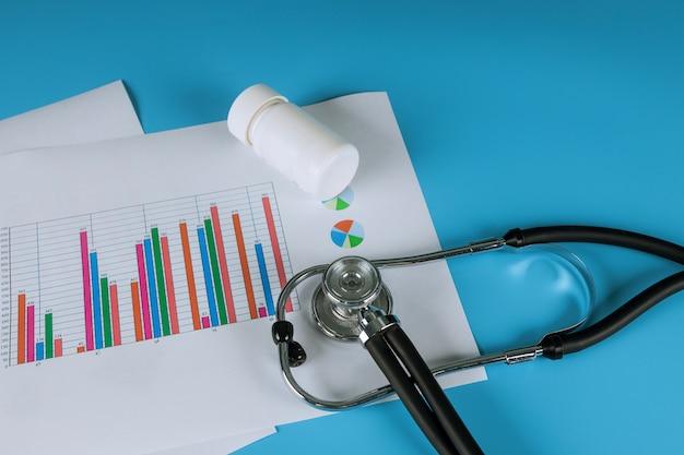 Carta di grafici analitici medici elettronici stetoscopio