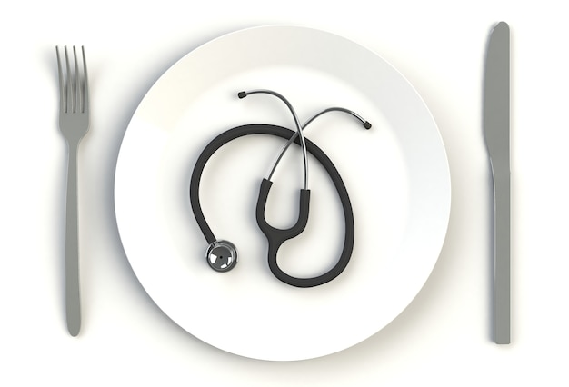 Stetoscopio sul piatto, coltello e forchetta sulla tavola bianca, rappresentazione 3d