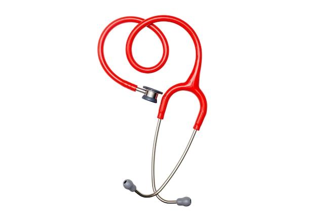 Stetoscopio rosso su sfondo bianco tracciato di ritaglio a lato