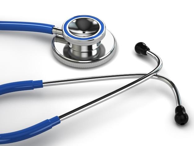 Stetoscopio su sfondo bianco isolato. 3d
