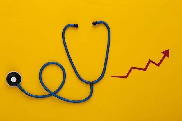 Stetoscopio con freccia di crescita su giallo