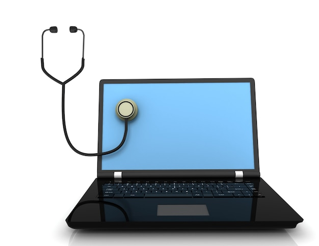 Stetoscopio con computer portatile. illustrazione 3d