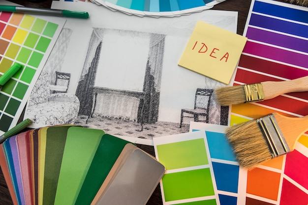 Adesivo con planimetria degli appartamenti e catalogo colori per la ristrutturazione della casa
