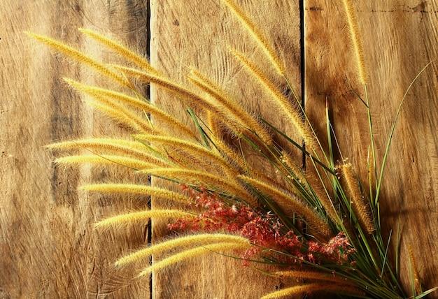 Natura morta con erba di coda di volpe sullo spazio di legno del grunge