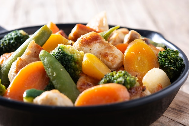 Saltare in padella il pollo con le verdure