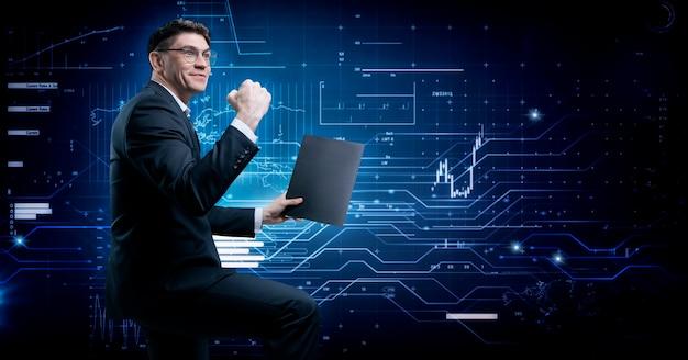 Il broker di borsa si rallegra della crescita degli asset. il concetto di intermediazione e trading.