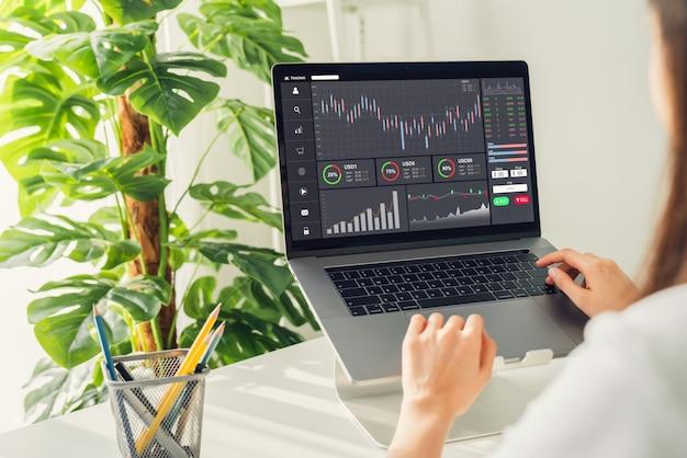 Concetto del mercato di borsa, commerciante della donna di affari che osserva computer con analisi dei grafici