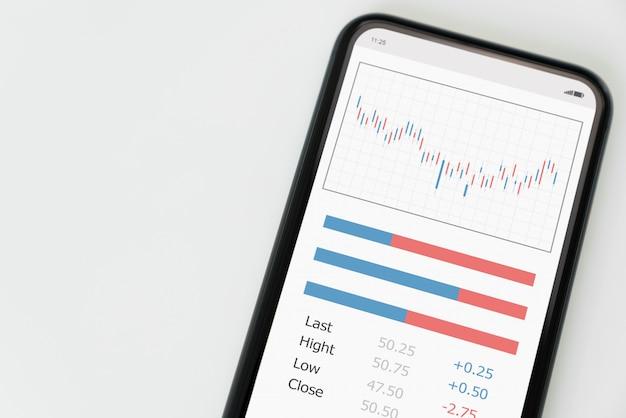 Concetto del mercato di borsa, smartphone sulla tavola con la linea della candela di analisi dei grafici, diagrammi sullo schermo.