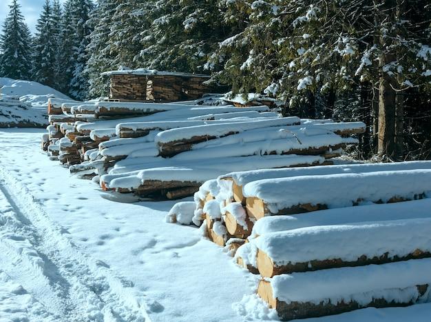Stock di legna da ardere lungo la strada di campagna invernale vicino alla foresta di abeti.