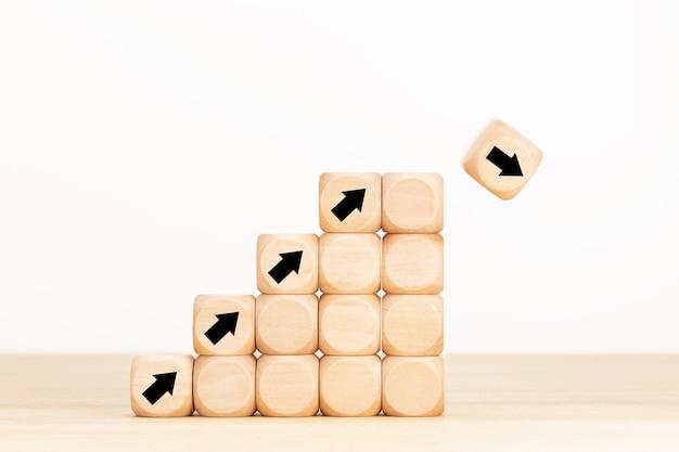 Crollo del mercato azionario o concetto di crisi dell'economia finanziaria. concetto di incertezza aziendale e idea di rischio.