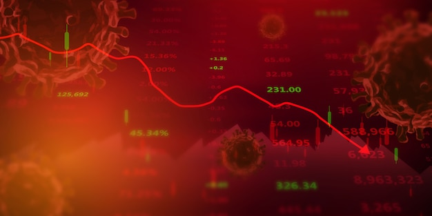 Crollo del mercato azionario illustrato da un grafico