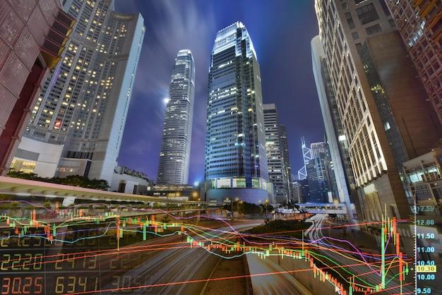 Borsa valori su un grattacielo in background di hong kong
