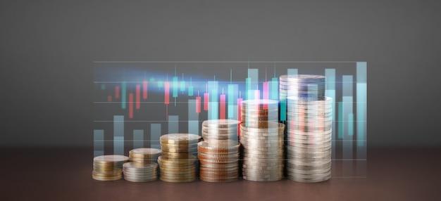 Grafico del candeliere del grafico di trading forex del mercato azionario adatto per il concetto di investimento finanziario, il grafico di affari e le monete Foto Premium