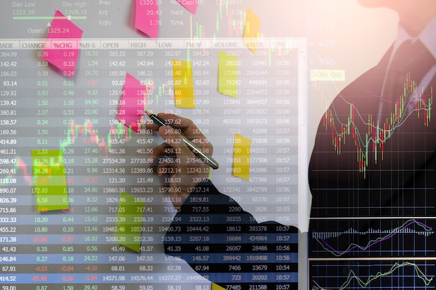 Grafico del mercato azionario o forex e grafico a candele adatto per il concetto di investimento finanziario. sfondo delle tendenze economiche per l'idea imprenditoriale e il design di tutte le opere d'arte fondo astratto di finanza.