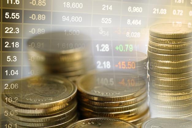 Investimenti in borsa trading moneta finanziaria e grafico grafico o forex per analizzare