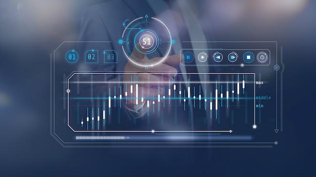 Infografica quotazioni azionarie su pannello virtuale
