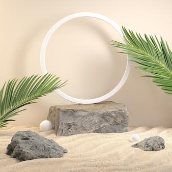 Piattaforma in pietra per prodotto spettacolo con foglia di palma sulla spiaggia. rendering 3d