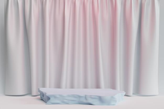 Podio o piedistallo in pietra per prodotti o pubblicità su sfondo blu e rosa pastello con tende, rendering minimo di illustrazione 3d