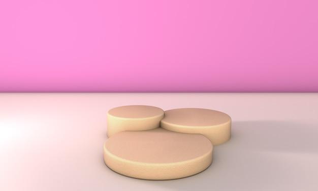 Podio di pietra in sfondo rosa. illustrazione 3d