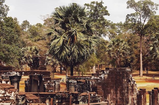 Rovine di pietra del complesso del tempio di angkor wat più grande monumento religioso e sito del patrimonio mondiale dell'unesco