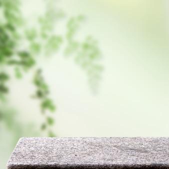 Tavolo in pietra nel giardino all'aperto natura organica ayurveda display quadrato sfondo