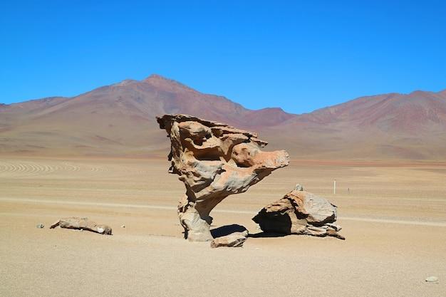 Albero di pietra chiamato arbol de piedra, una famosa formazione rocciosa nella riserva nazionale di fauna andina eduardo avaroa, provincia di sur lipez, bolivia
