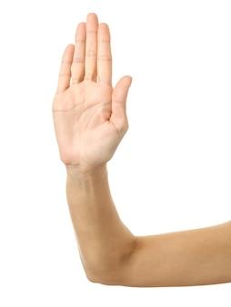 Smettila! gesturing della mano della donna isolato su bianco