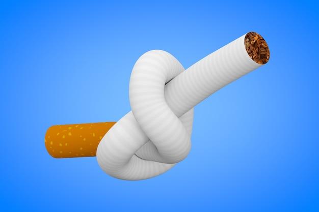 Smettere di fumare il concetto. sigaretta legata a un nodo su uno sfondo blu 3d rendering