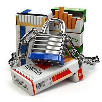 Smettere di fumare il concetto. pacchetto di sigarette e lucchetto con catena. 3d
