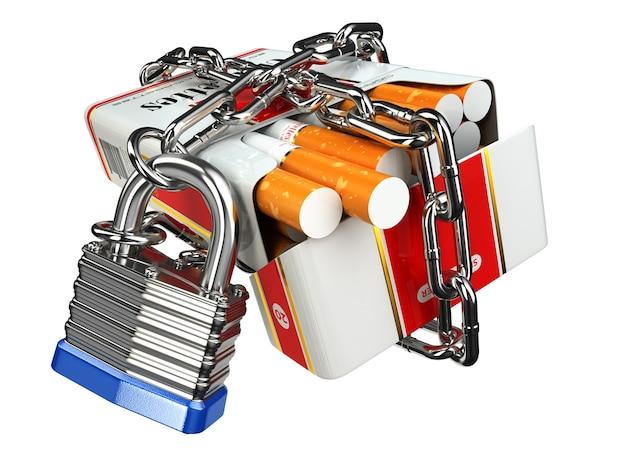 Smetti di fumare pacchetto di sigarette e lucchetto con catena