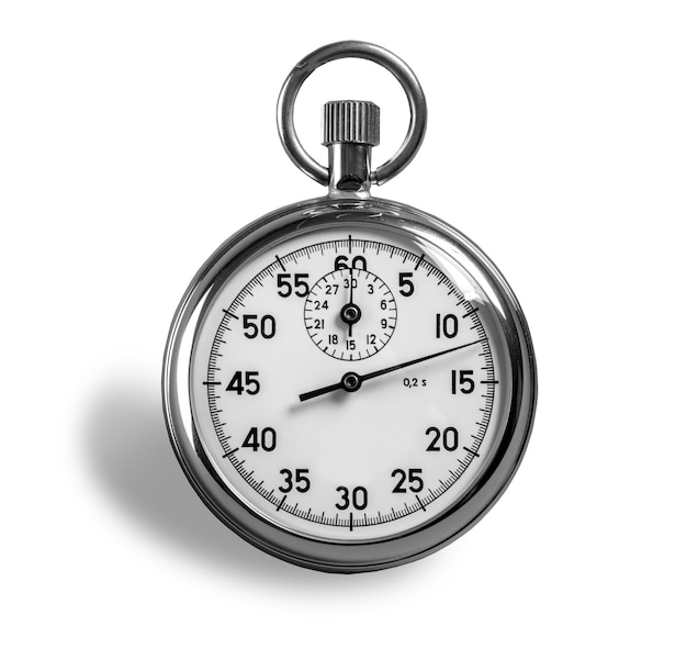 Cronometro su sfondo bianco con tracciato di ritaglio