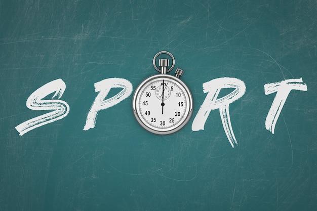 Cronometro con segno sportivo su uno sfondo di lavagna. rendering 3d