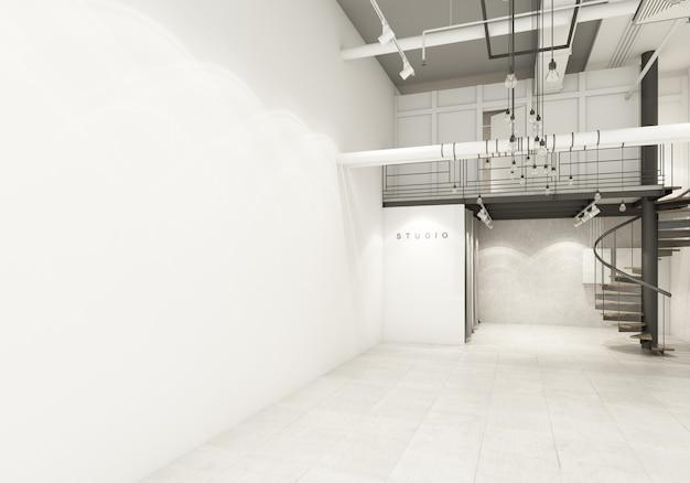 Il negozio nel grande magazzino mostra la decorazione del pavimento in attesa della sala emtry con il condotto dell'aria e il rendering 3d del sistema di lavoro