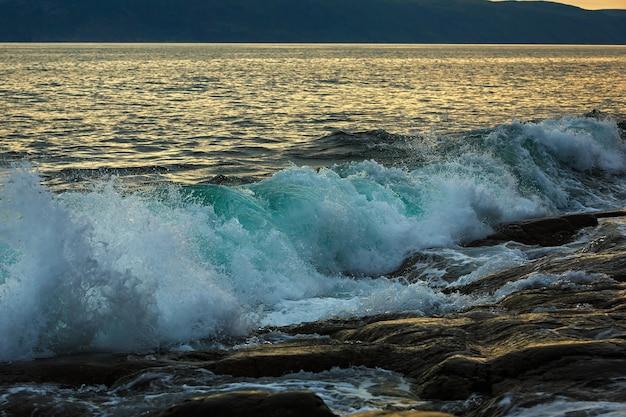 Onda di tempesta sulla costa dell'artico. mare di barents, russia.