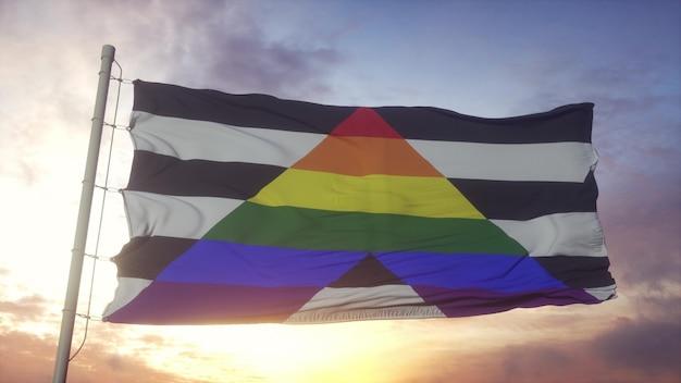 Bandiera dell'orgoglio alleato dritto che sventola nel vento, nel cielo e nello sfondo del sole. rendering 3d