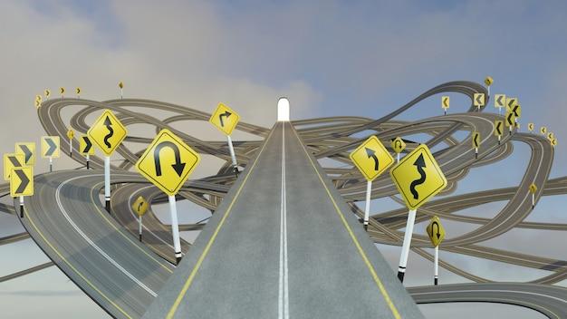 Percorso dritto verso il successo scegliendo il percorso strategico giusto con i segnali stradali gialli., illustrazione 3d .., rendering 3d.