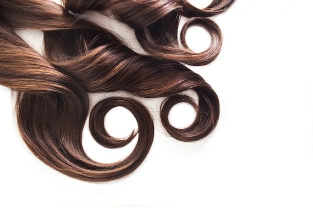 Filo di capelli castana isolato su bianco, lussuoso capelli castani su bianco, spazio libero per il testo