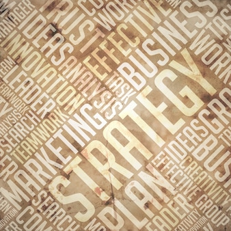 Concetto di strategia. grunge beige - wordcloud marrone.