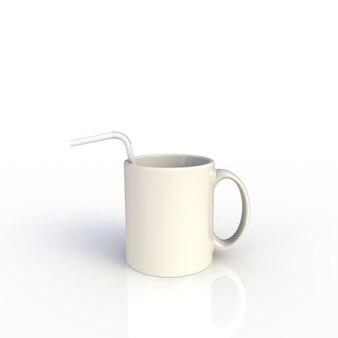 Paglia in tazza di caffè bianco su bianco