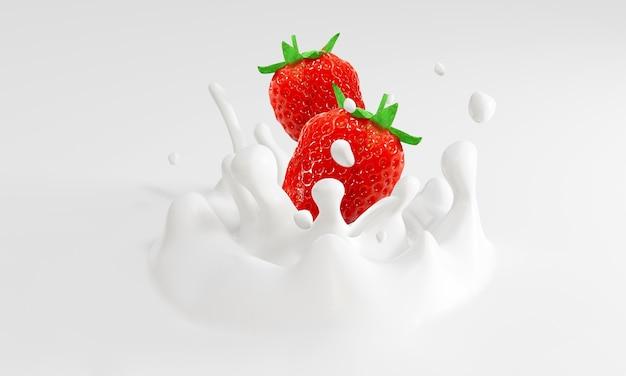 Fragole che cadono nel latte. rendering 3d