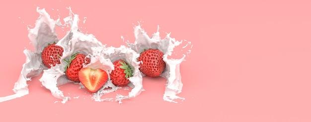 Fragole su uno sfondo rosso in una spruzzata di latte, illustrazione 3d