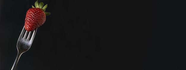 Dettaglio banner fragola, immagine banner con spazio di copia