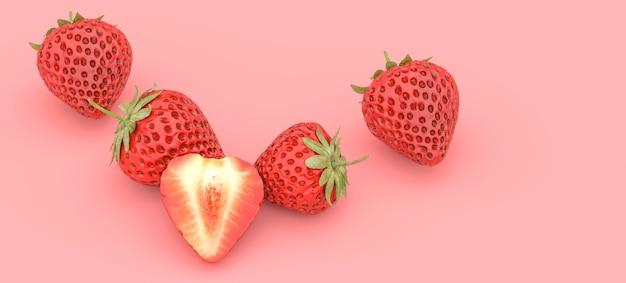 Fragola su sfondo rosso, illustrazione 3d