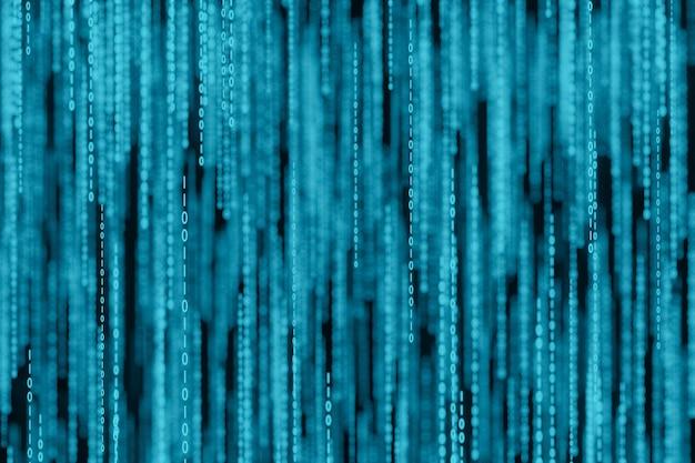 Flusso di numeri di codice a matrice binaria sul rendering 3d dello schermo