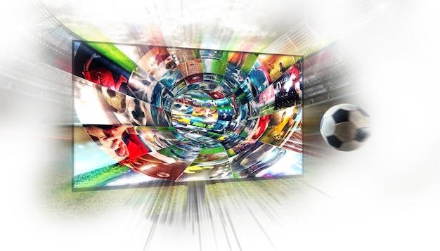 Streaming di immagini di calcio su internet in un cavo digitale
