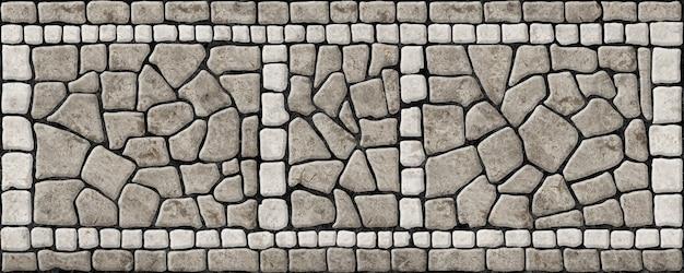 Marciapiede di strada fatto di pietre. mosaico con struttura in pietra naturale.